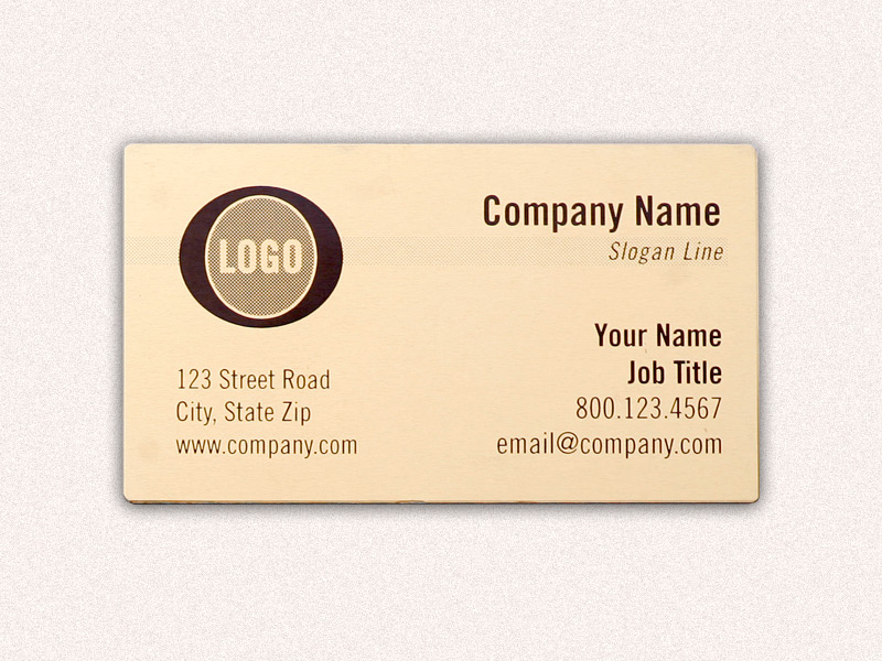 Metal Business Card - Gold Background - Black Text - 2.00\