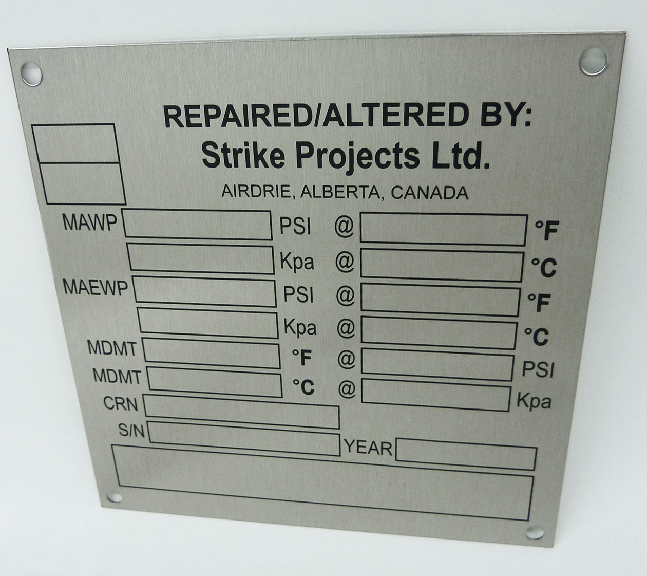 Asme Certification Plate Nameplates Metal Tags And Laser Cutting