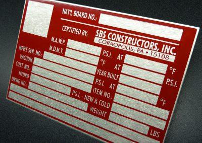 ASME Certification Plate